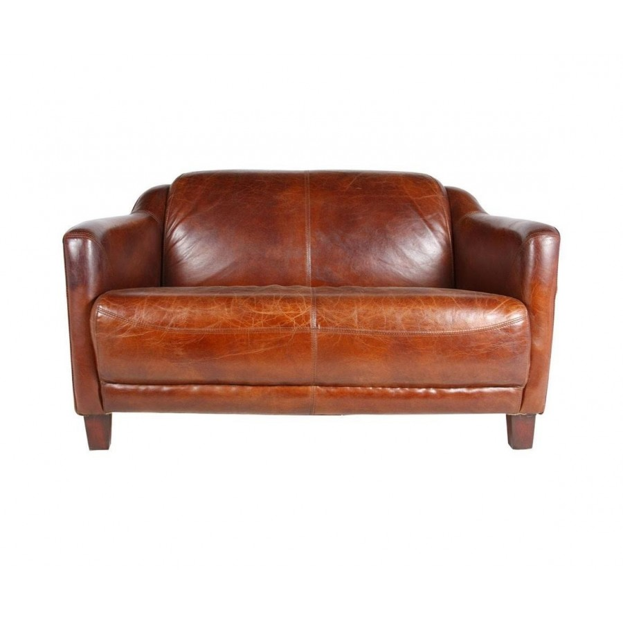 Canape 2 places en cuir marron vintage - Canape cuir deux places ...