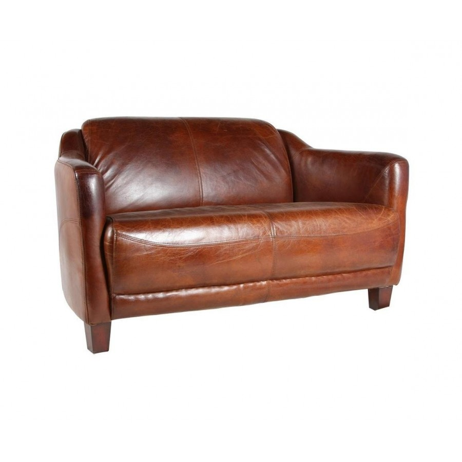 Canape 2 places en cuir marron vintage - Canape en cuir 2 places ...