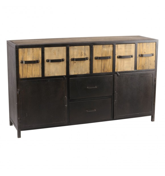buffet industriel en bois et m tal noir tiroirs. Black Bedroom Furniture Sets. Home Design Ideas