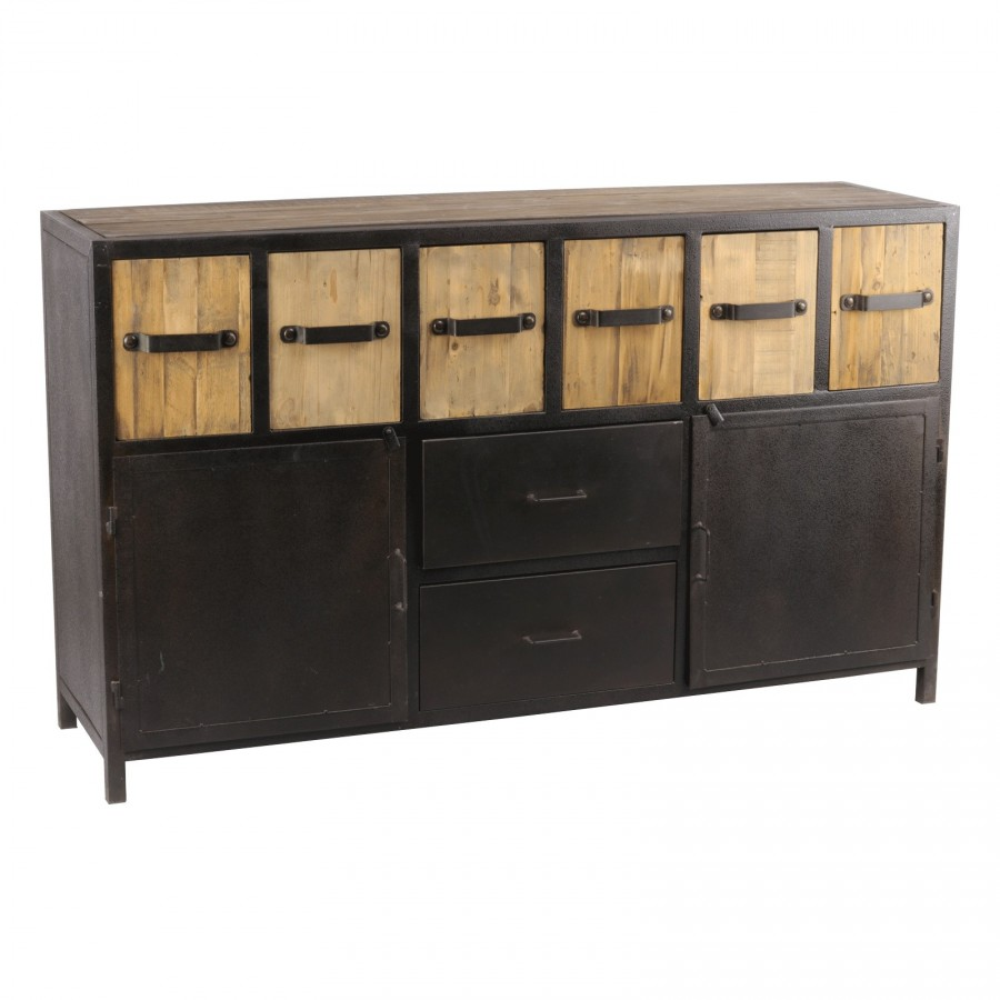 buffet industriel bois et m tal. Black Bedroom Furniture Sets. Home Design Ideas