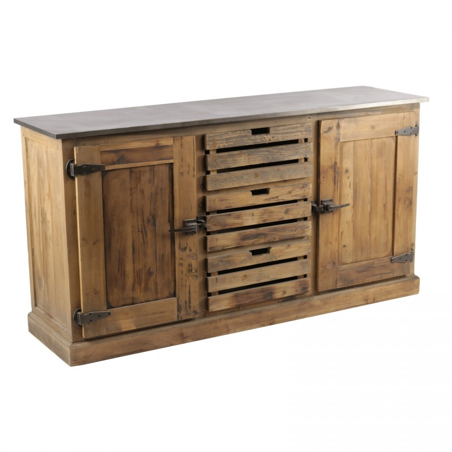meuble buffet bas industriel country en bois et zinc. Black Bedroom Furniture Sets. Home Design Ideas