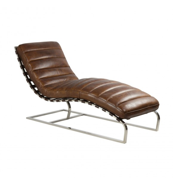 Chaise longue Manhattan en cuir marron vintage