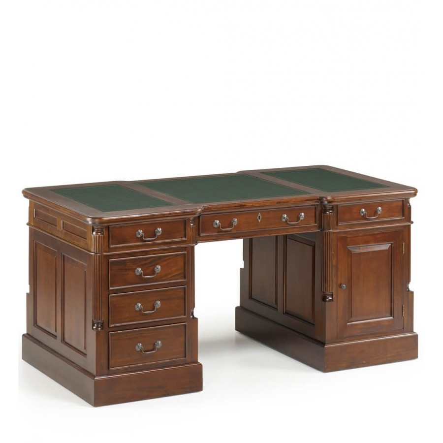 bureau de ministre charlemagne en bois massif avec sous main en cuir. Black Bedroom Furniture Sets. Home Design Ideas