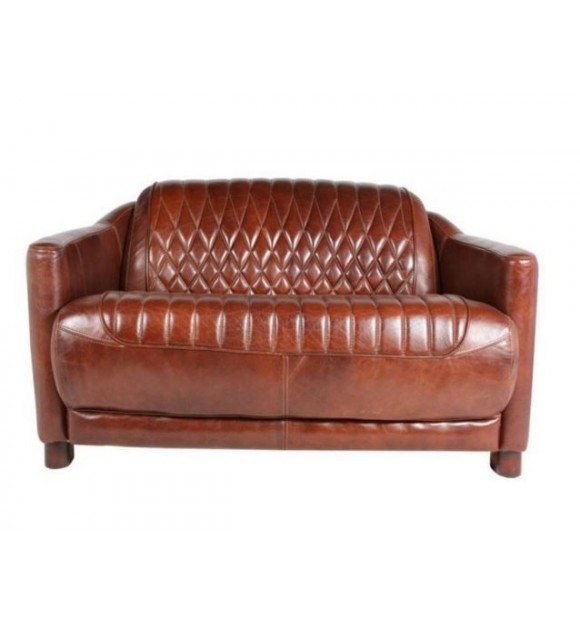 CANAPE CUIR MARRON 2 places surpiqures