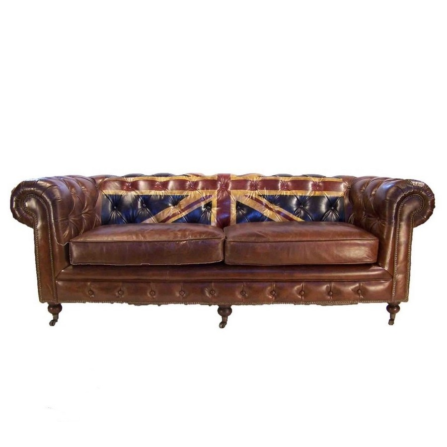 Canap 3 places chesterfield cuir marron vintage drapeau union jack - Canape chesterfield cuir ...