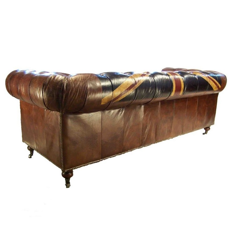 canap 3 places chesterfield cuir marron vintage drapeau union jack. Black Bedroom Furniture Sets. Home Design Ideas