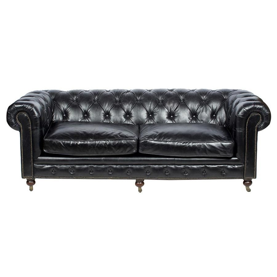 canap 3 places chesterfield cuir noir vintage classique. Black Bedroom Furniture Sets. Home Design Ideas