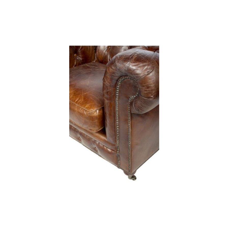 fauteuil chesterfield cuir marron vintage classique roulettes. Black Bedroom Furniture Sets. Home Design Ideas
