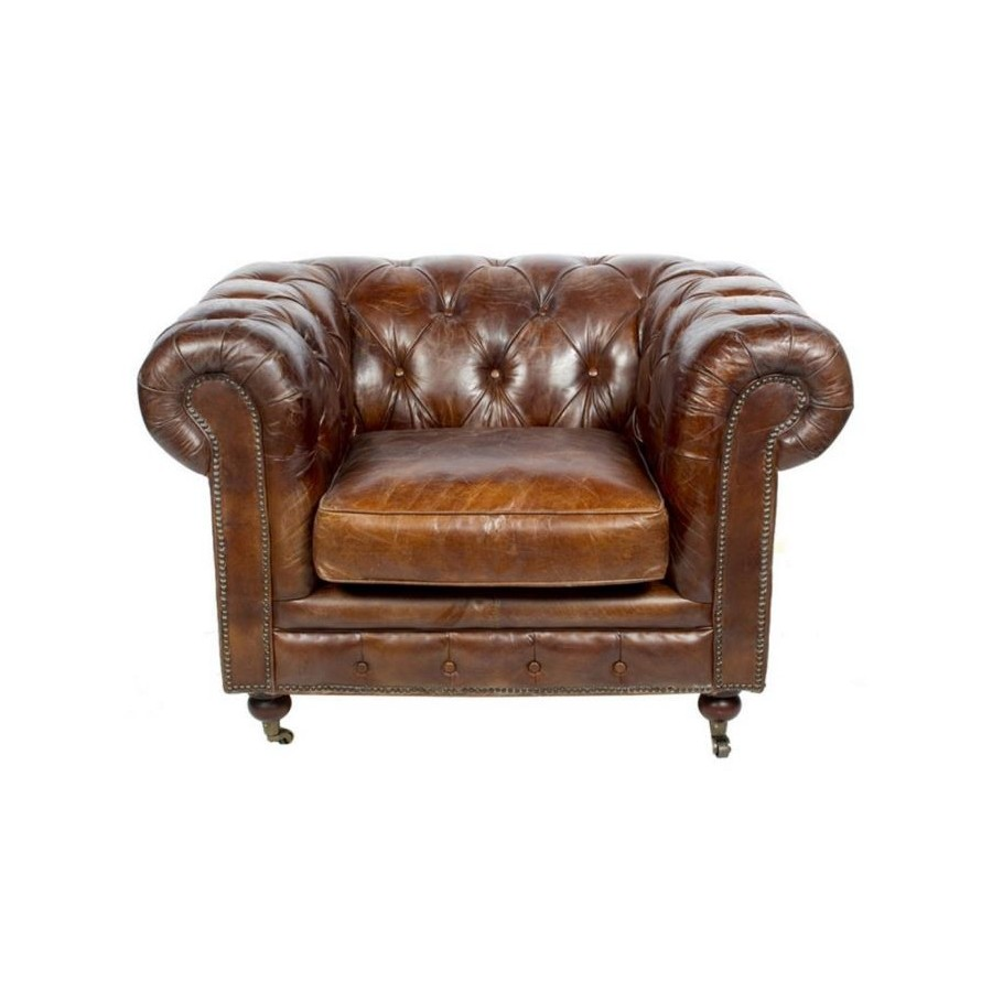fauteuil chesterfield cuir marron vintage classique. Black Bedroom Furniture Sets. Home Design Ideas