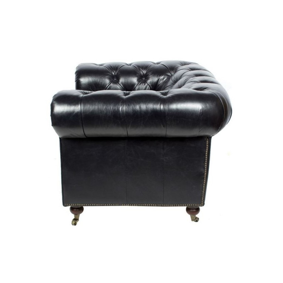 fauteuil chesterfield cuir noir vintage classique roulettes. Black Bedroom Furniture Sets. Home Design Ideas