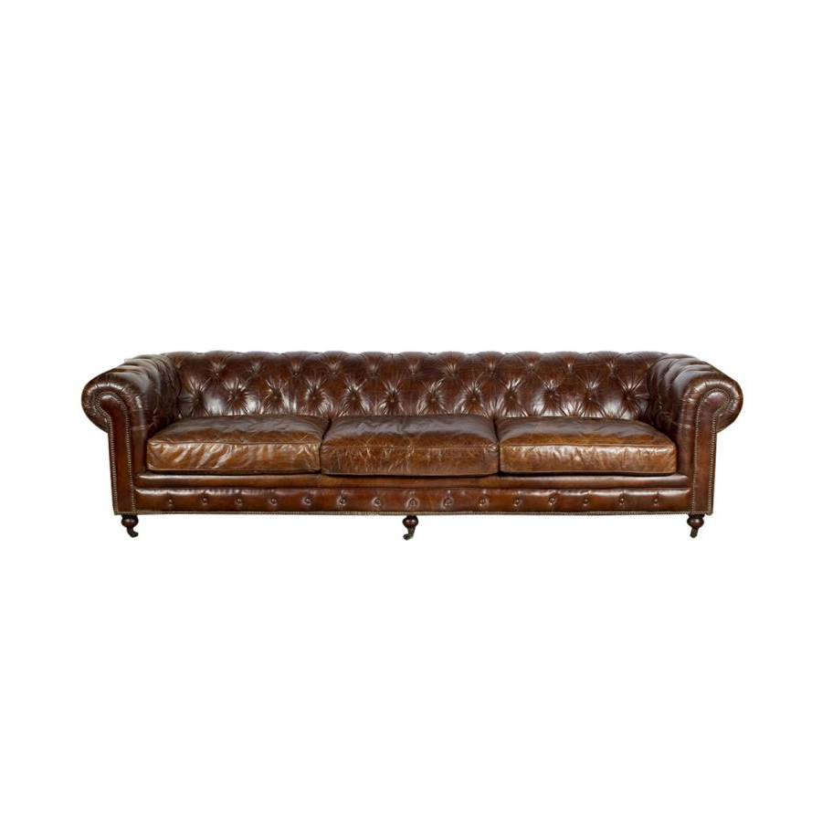 Canap chesterfield g ant 3 4 places en cuir marron vintage for Chesterfield canape
