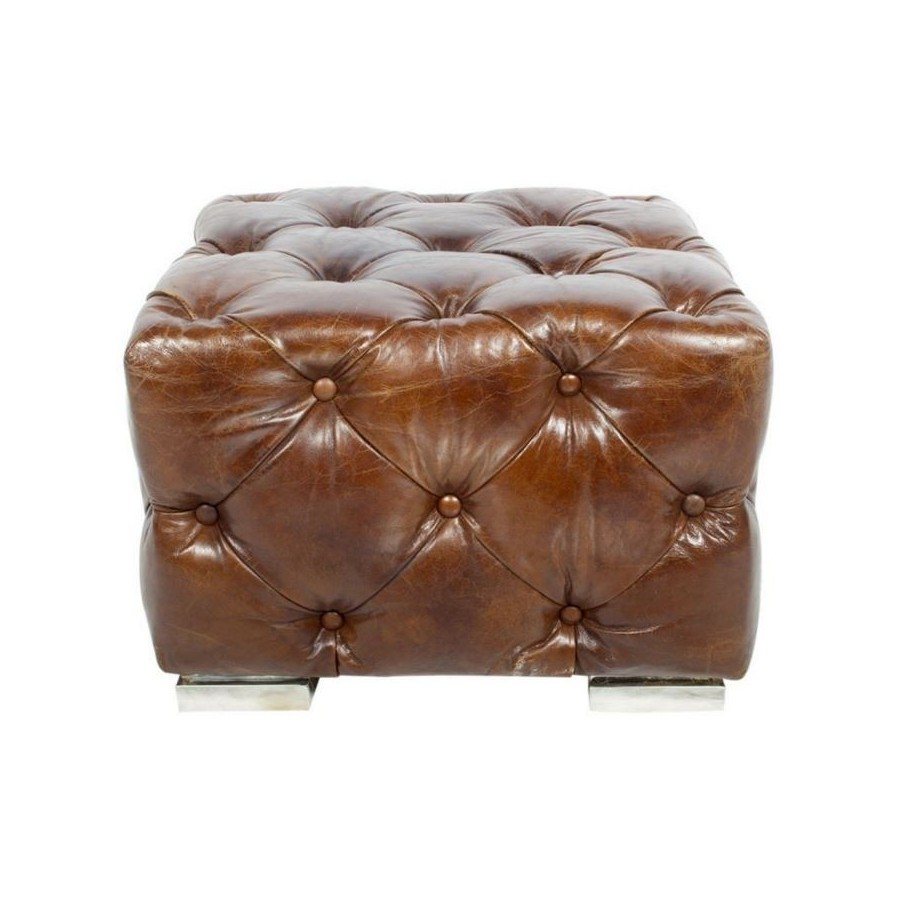 pouf repose pieds chesterfield cube ou aviateur en cuir marron vintage. Black Bedroom Furniture Sets. Home Design Ideas