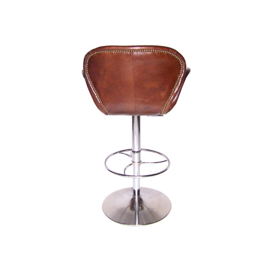 tabouret de bar cygne forme swan en cuir marron vintage. Black Bedroom Furniture Sets. Home Design Ideas