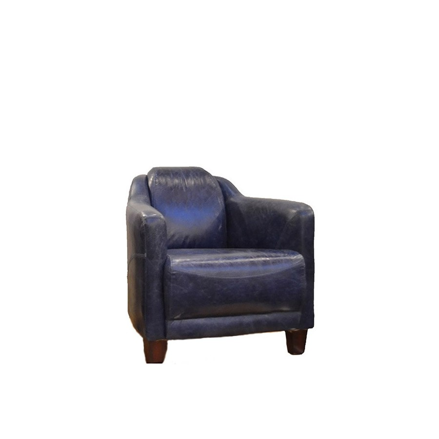 fauteuil london cuir bleu club anglais cuir 3 pieds forme ogive. Black Bedroom Furniture Sets. Home Design Ideas