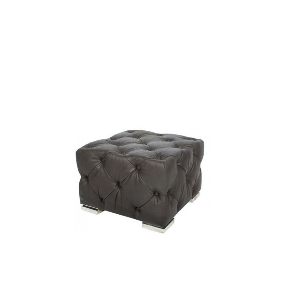 pouf repose pieds chesterfield cube ou aviateur en cuir noir. Black Bedroom Furniture Sets. Home Design Ideas