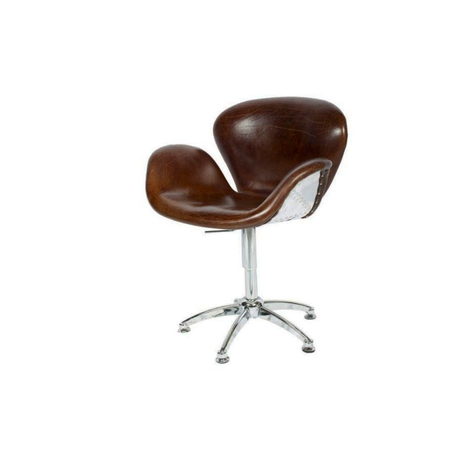 fauteuil cygne aviateur en cuir marron vintage. Black Bedroom Furniture Sets. Home Design Ideas