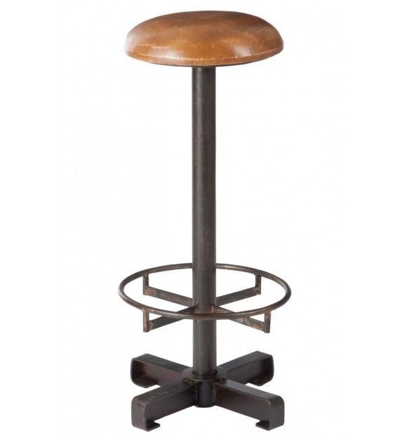 tabouret de bar industriel haut et fixe en cuir vintage et m tal. Black Bedroom Furniture Sets. Home Design Ideas
