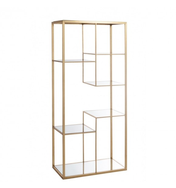ETAGERE 5 PLANCHES METAL/VERRE OR