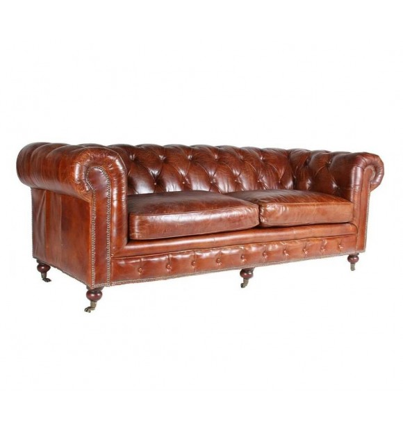 CANAPE CHESTERFIELD 3 PLACES CUIR marron vintage