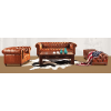 CANAPE CHESTERFIELD 3 PLACES CUIR UNION JACK