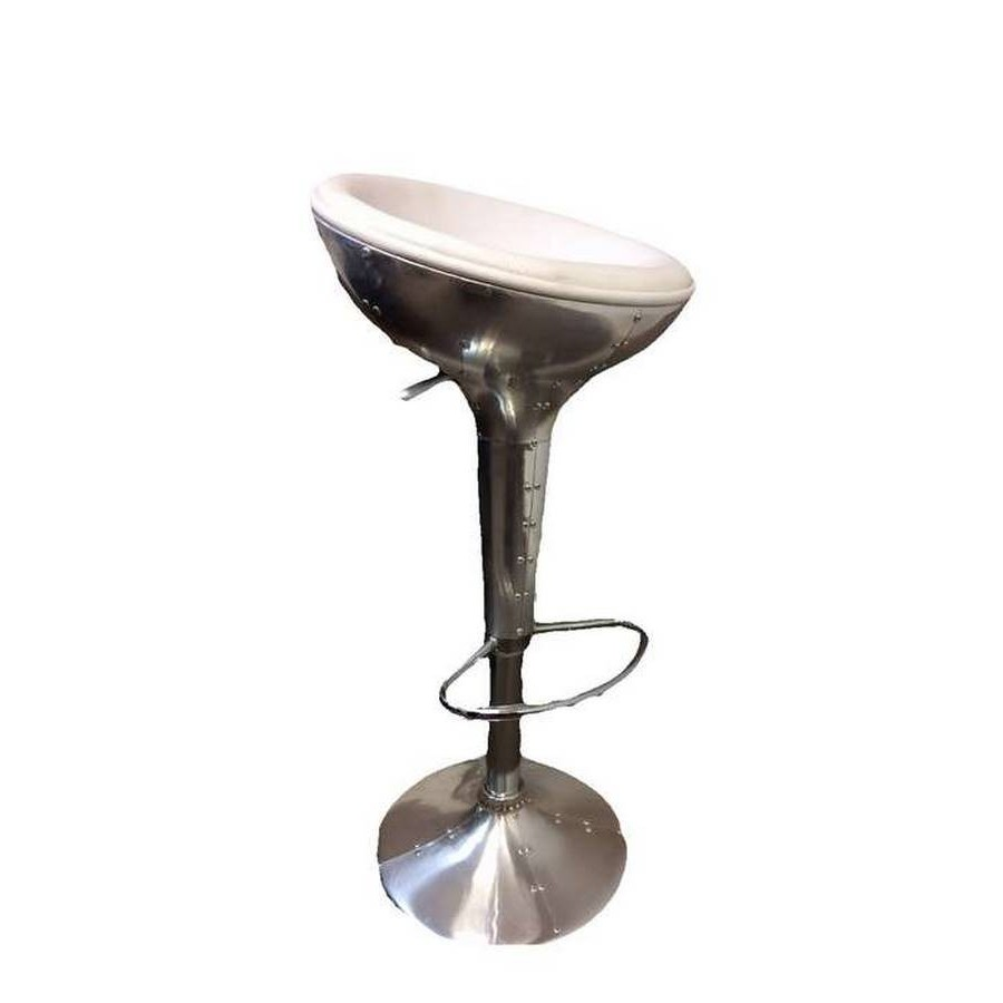 tabouret de bar aviateur blanc en simili et alu ajustable en hauteur. Black Bedroom Furniture Sets. Home Design Ideas