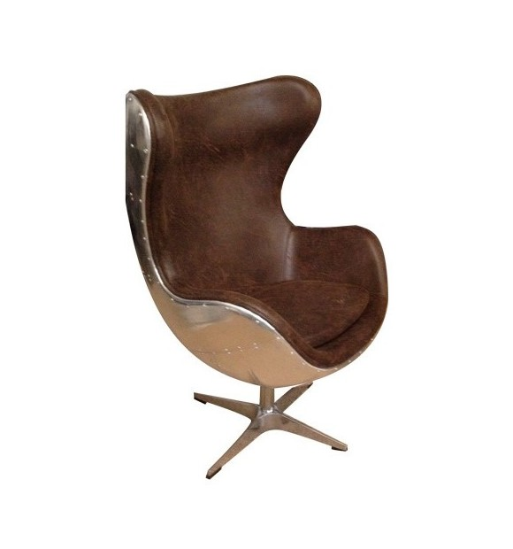 FAUTEUIL EGG CHAIR JACOB AVIATEUR MARRON VINTAGE
