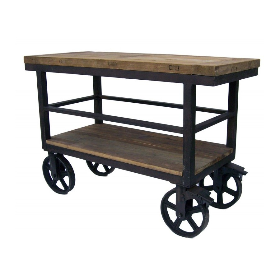 desserte trolley chariot industriel roulettes en bois naturel et fer. Black Bedroom Furniture Sets. Home Design Ideas