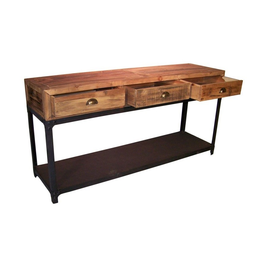 console industrelle cottage en bois naturel vieilli et fer noir. Black Bedroom Furniture Sets. Home Design Ideas