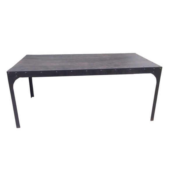 grande table manger industrielle noire vieilllie de style loft. Black Bedroom Furniture Sets. Home Design Ideas