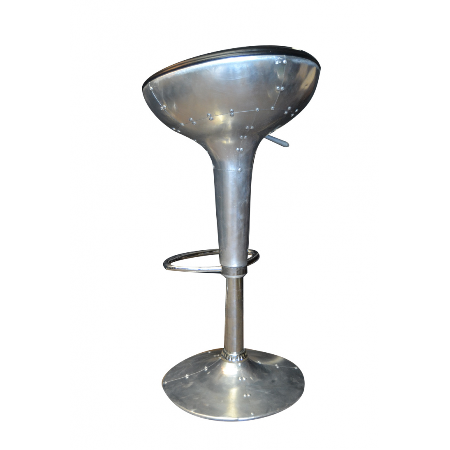 Tabouret de bar r glable en hauteur style aviateur et for Siege de tabouret de bar