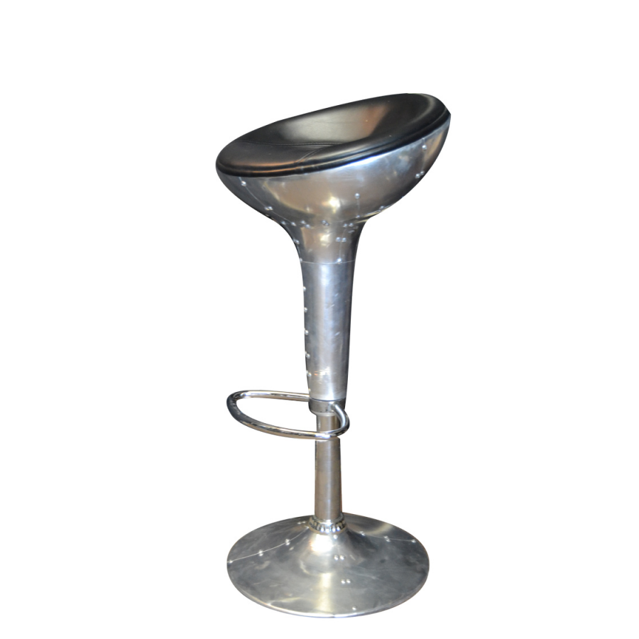 Tabouret de bar aviateur noir en cuir synth tique r glable - Tabourets de bar industriel ...