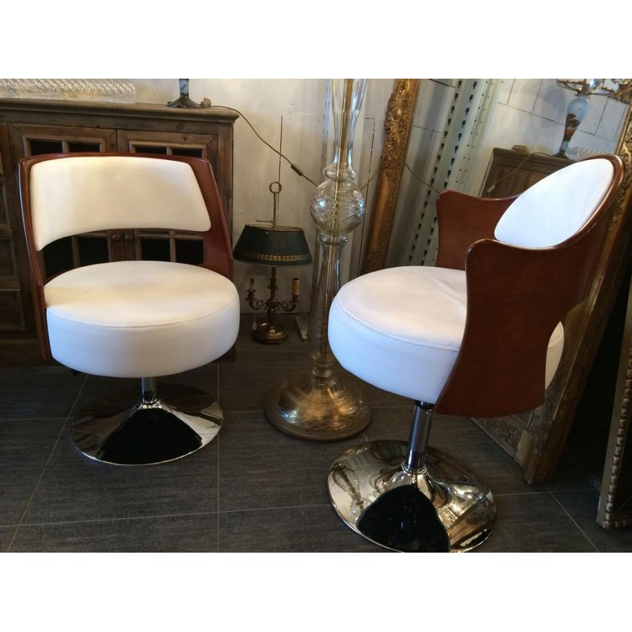 fauteuil lea bois et simili cuir blanc tr s design en. Black Bedroom Furniture Sets. Home Design Ideas