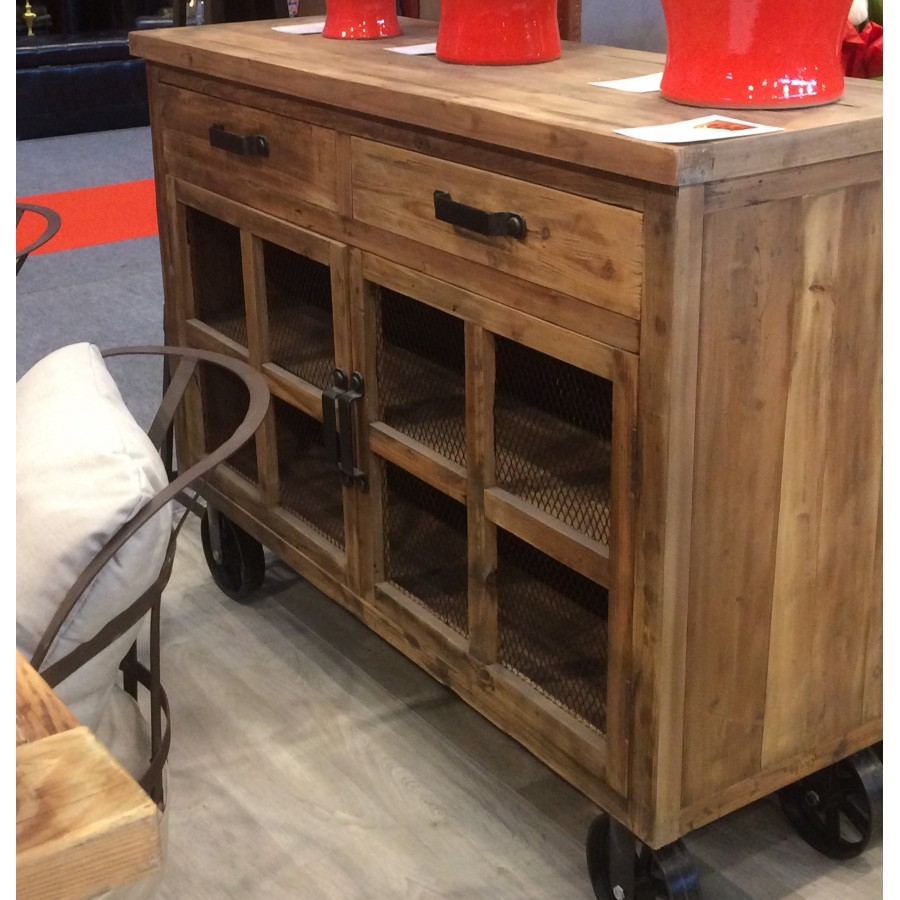 buffet industriel bois roulettes et poign esen m tal fa on vintage. Black Bedroom Furniture Sets. Home Design Ideas