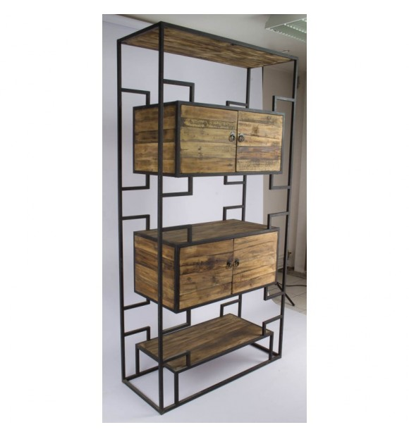biblioth que industrielle tag re industrielle m tal et bois vieilli. Black Bedroom Furniture Sets. Home Design Ideas