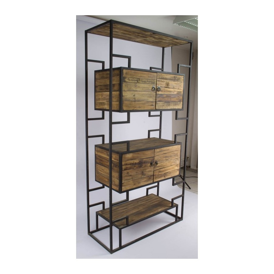 Biblioth que industrielle tag re industrielle m tal et for Etagere bois industriel