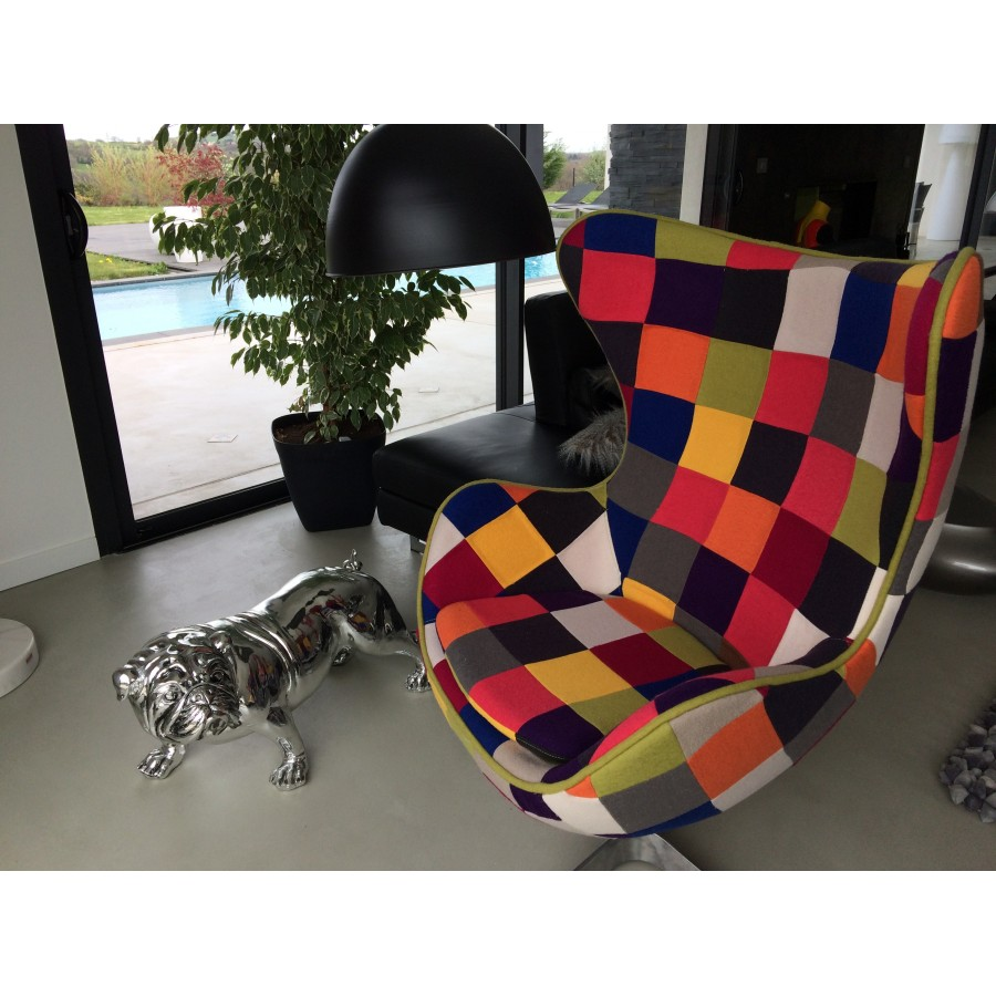 fauteuil oeuf egg chair cocoon patchwork pivotant. Black Bedroom Furniture Sets. Home Design Ideas