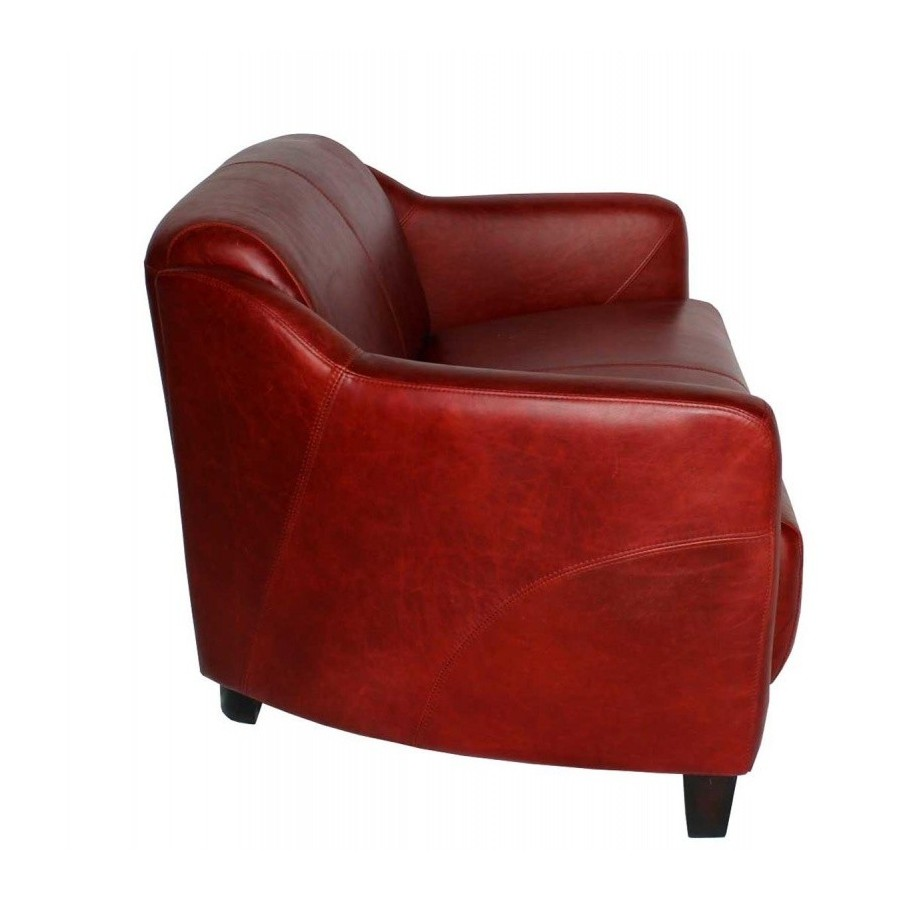 canape style club anglais 2 places london en cuir rouge vintage. Black Bedroom Furniture Sets. Home Design Ideas