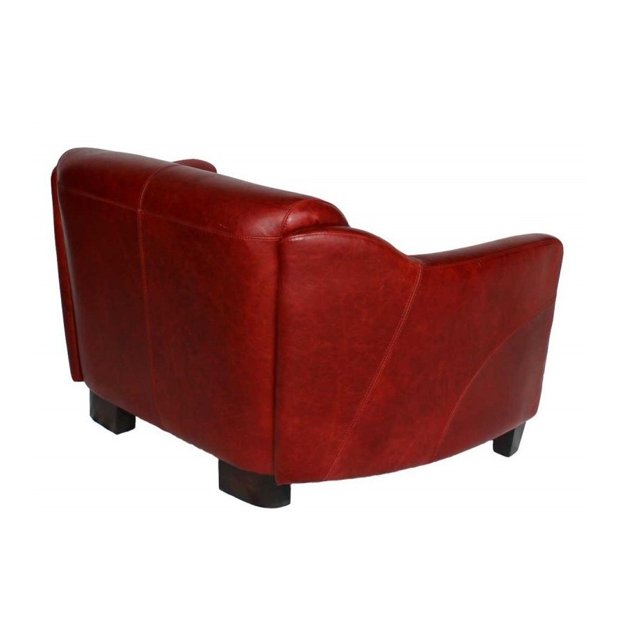 Canape style club anglais 2 places london en cuir rouge for Canape cuir rouge