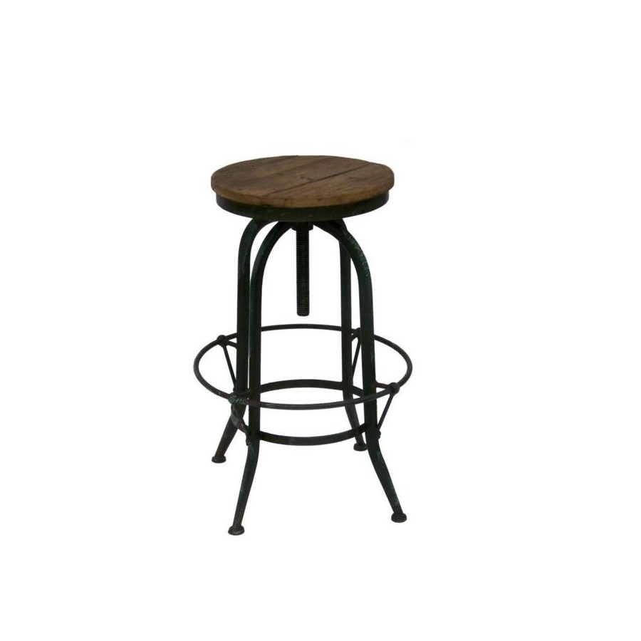 tabouret de bar industriel bois et m tal vieilli r glable. Black Bedroom Furniture Sets. Home Design Ideas