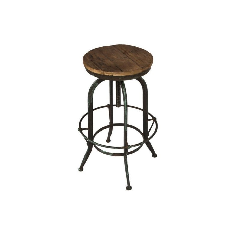 tabouret de bar industriel bois et m tal vieilli r glable en hauteur. Black Bedroom Furniture Sets. Home Design Ideas