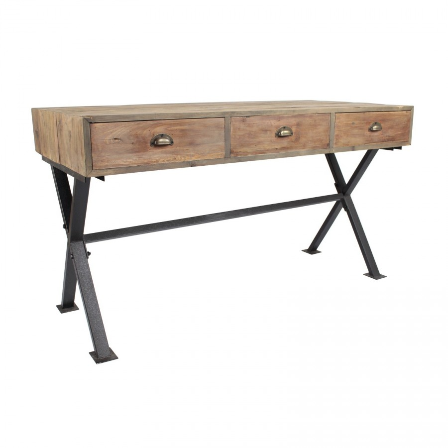 bureau industriel en bois et fer avec 3 tiroirs. Black Bedroom Furniture Sets. Home Design Ideas
