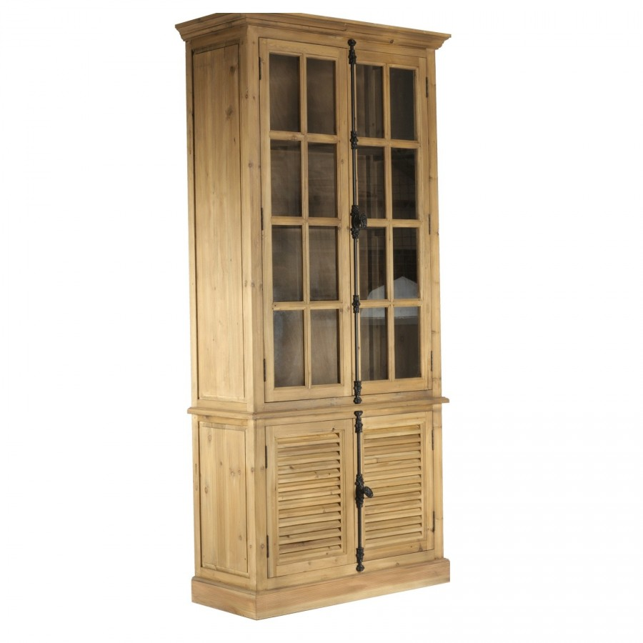 vitrine de rangement en bois et verre munie de 4 tag res. Black Bedroom Furniture Sets. Home Design Ideas