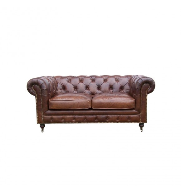 Le canap chesterfield en cuir marron 2 places for Canape chesterfield cuir 2 places