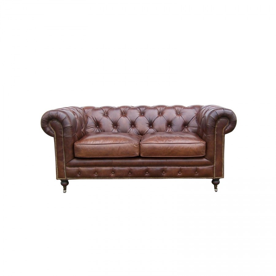 le canap chesterfield en cuir marron 2 places. Black Bedroom Furniture Sets. Home Design Ideas