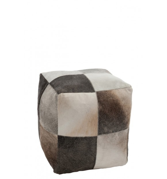 pouf carr en cuir patchwork. Black Bedroom Furniture Sets. Home Design Ideas