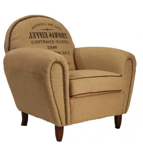 fauteuil bridge toile de jute beige et texte imprim vintage. Black Bedroom Furniture Sets. Home Design Ideas