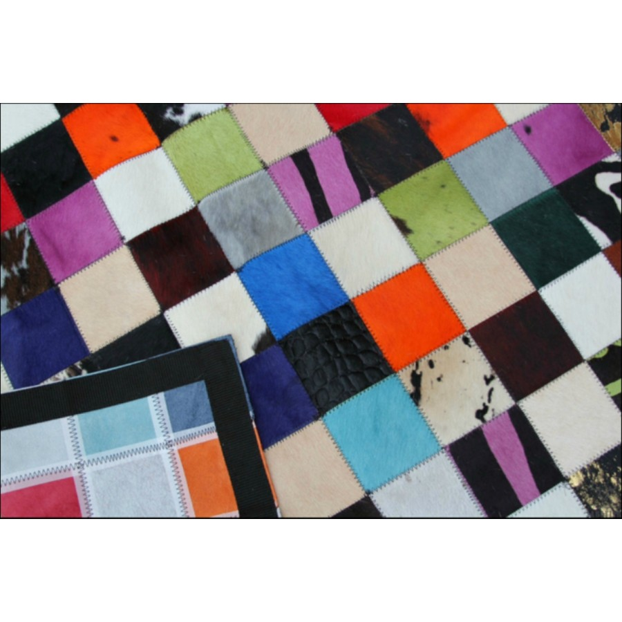tapis en cuir arty peau de vache multicolore patchwork. Black Bedroom Furniture Sets. Home Design Ideas