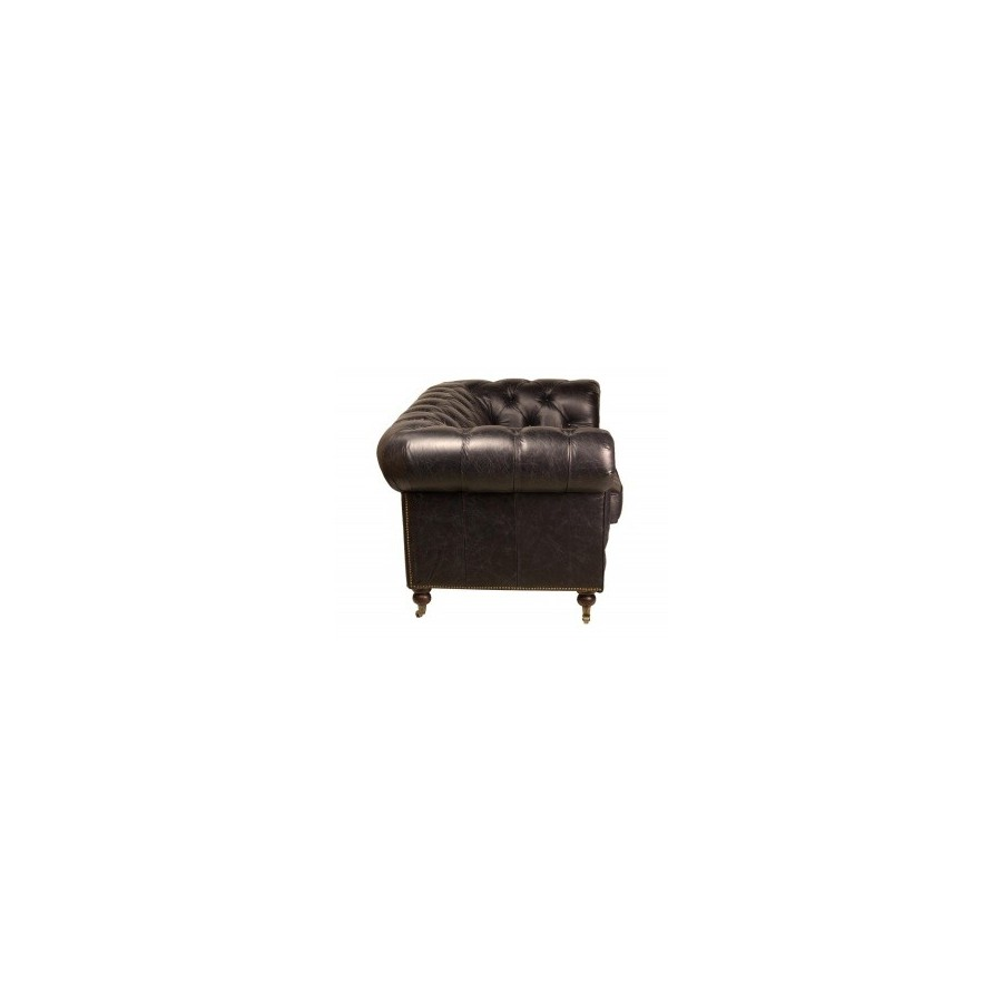 le canape chesterfield black 2 places en cuir noir With tapis yoga avec canapé chesterfield noir 2 places