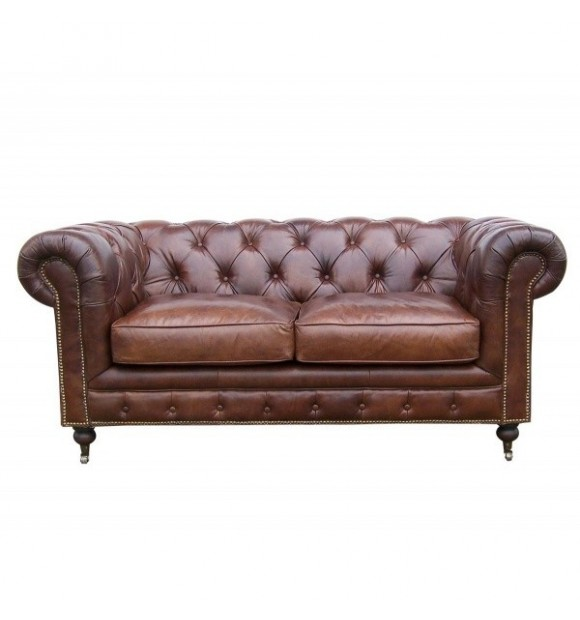 canapé chesterfield en cuir marron 2 places