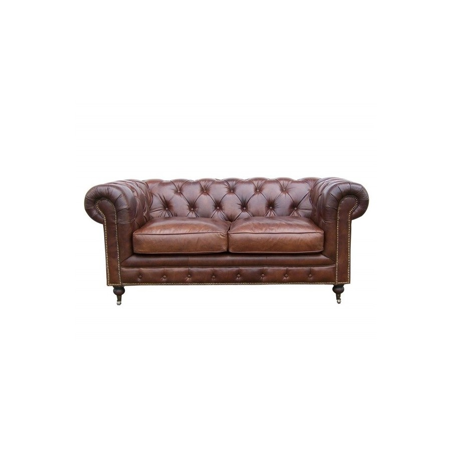 Le canap chesterfield en cuir marron 2 places for Canape chesterfield cuir
